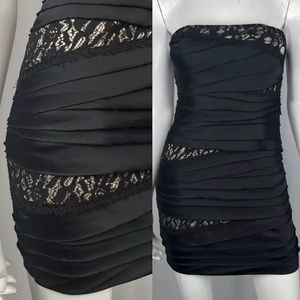 Bebe Lace Layered Tiered Bodycon Sheath Dress LBD